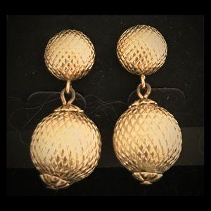 VINTAGE Trifari Earrings Textured Goldstone